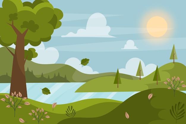 Kolorowa ilustracja niesamowitego krajobrazu