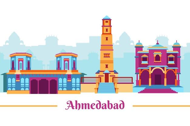 Kolorowa ilustracja panoramę ahmedabad