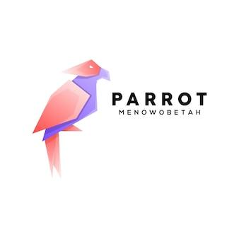 Kolorowa ilustracja papugi w geometrycznym stylu