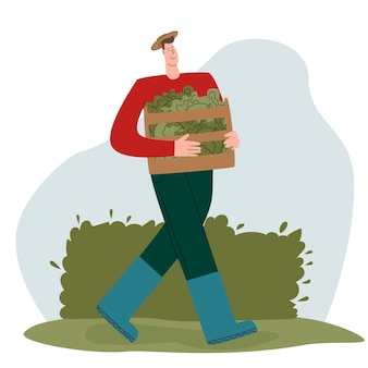 Kolorowa ilustracja przedstawiająca wesołego rolnika chłopca trzymającego pudełko z wyhodowanymi warzywami ekologicznymi...