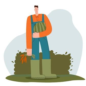 Kolorowa ilustracja przedstawiająca wesołego rolnika trzymającego arbuza i marchewkę z ekologicznego targu...