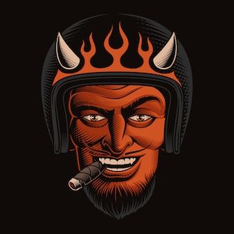 Kolorowa ilustracja rowerzystę diabła w kasku na ciemnym tle. idealny do projektowania koszulek