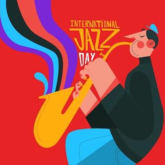 Kolorowa ilustracja saksofonowy gracz