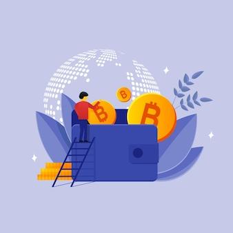 Kolorowa ilustracja stylu płaskiego człowieka na drabinie wkładającego złote bitcoiny do portfela, oszczędzając pieniądze na tle mapy świata