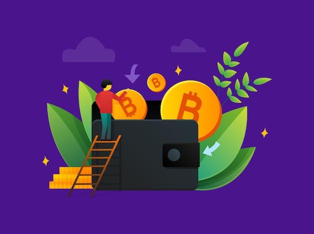 Kolorowa ilustracja w stylu płaskiego człowieka na drabinie wkładającego złote bitcoiny do portfela, oszczędzając pieniądze na fioletowym tle