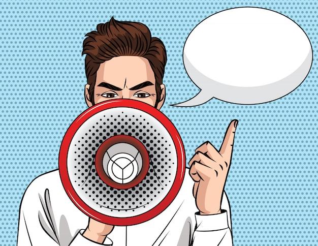 Kolorowa ilustracja w stylu pop-art biznesmena z ustnikiem w ręku. młody zły facet z megafonem. mężczyzna ogłasza i podnosi palec