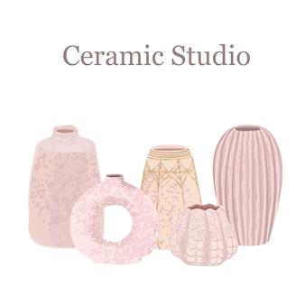 Kolorowa ilustracja wektorowa kolekcji wazonów ceramicznych na białym tle. studio ceramiczne. użyj jako elementu do reklamy drukowanej, plakatu, banera, postu w mediach społecznościowych, zaproszenia, projektu graficznego