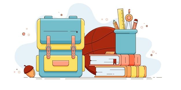 Kolorowa ilustracja wektorowa ze szkolnymi przedmiotami edukacyjnymi powrót do koncepcji szkoły