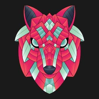 Kolorowa ilustracja wilka