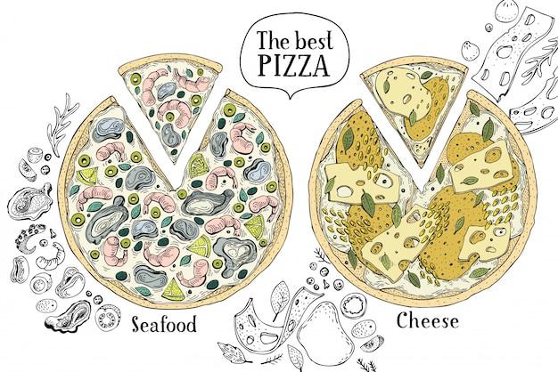 Kolorowa ilustracja włoska pizza.