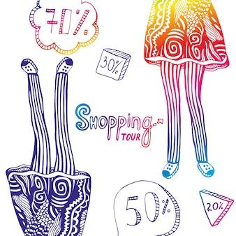Kolorowa ilustracja z sprzedaż elementami i nogami kobieta w doodle fasonujemy ornamenty. tło wektor podróży