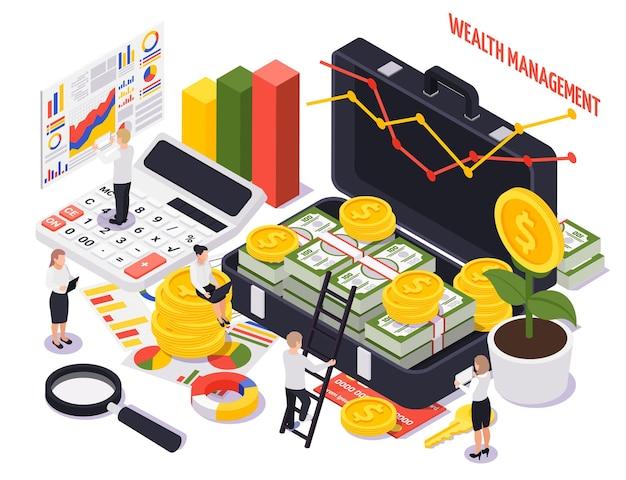 Kolorowa izometryczna ilustracja zarządzania bogactwem