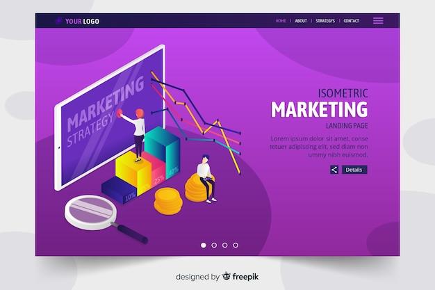 Kolorowa izometryczna marketingowa strona docelowa