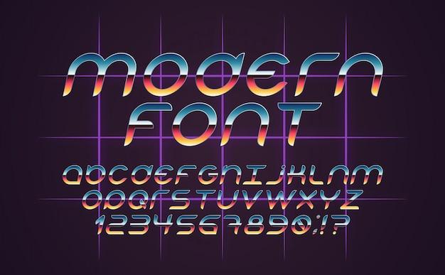 Kolorowa, jasna czcionka w starym stylu. alfabet vintage. plakaty w stylu retro z lat 80. i 90. gradient koloru. futurystyczny styl.