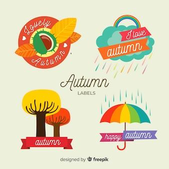 Kolorowa jesień przylepia etykietkę kolekcję z liśćmi