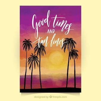 Kolorowa karta letnia z ozdobnymi palmami