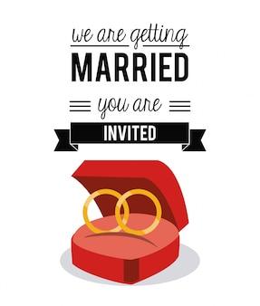 Kolorowa karta ślubu z obrączkami ślubnymi