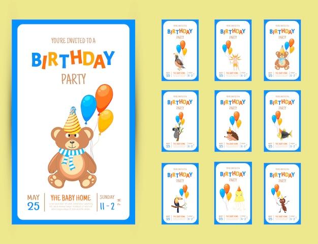 Kolorowa karta zaproszenie na przyjęcie z uroczymi zwierzętami
