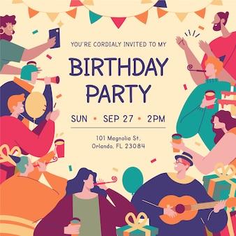 Kolorowa kartka urodzinowa z ilustracjami różnych postaci