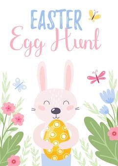 Kolorowa kartka z życzeniami wesołych świąt z królikiem, królikiem i tekstem