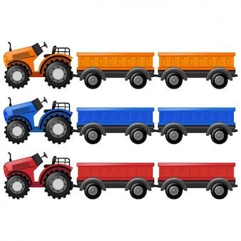 Kolorowa kolekcja ciągników