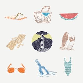 Kolorowa kolekcja grafiki morskiej wektor linoryt