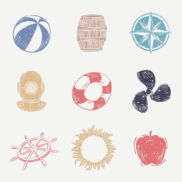 Kolorowa kolekcja ikon morskich linorytu