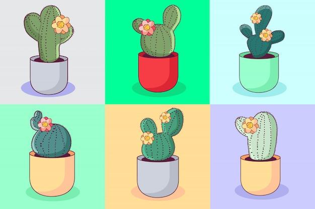 Kolorowa kolekcja kaktusów kawaii