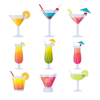 Kolorowa kolekcja koktajli