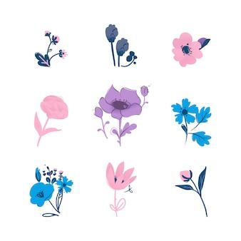 Kolorowa kolekcja kwiatowy z ilustracji wektorowych liści i kwiatów na białym tle. wiosenny lub letni zestaw na zaproszenia i kartki ślubne lub okolicznościowe.