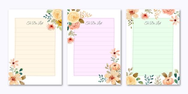 Kolorowa kolekcja listy rzeczy do zrobienia z kwiatem akwareli