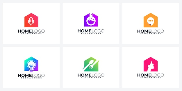 Kolorowa kolekcja logo domu, zestaw kreatywnych logo domu,