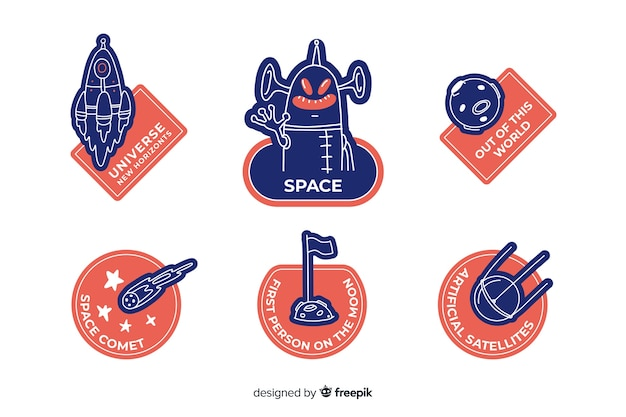 Kolorowa kolekcja naklejek kosmicznych