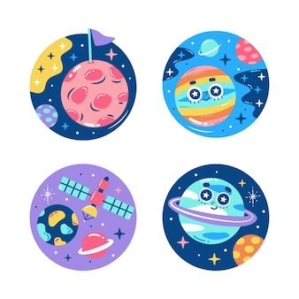 Kolorowa kolekcja naklejek wszechświata