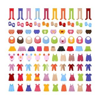 Kolorowa kolekcja odzieży dziecięcej w płaskiej stylistyce.