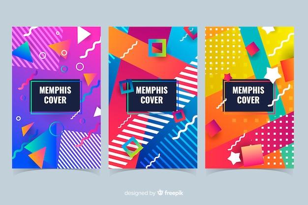 Kolorowa kolekcja okładek w stylu memphis