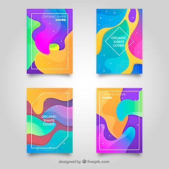 Kolorowa kolekcja okładek z kształtami bąbelków