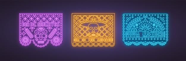 Kolorowa kolekcja papel picado w neonowym stylu.
