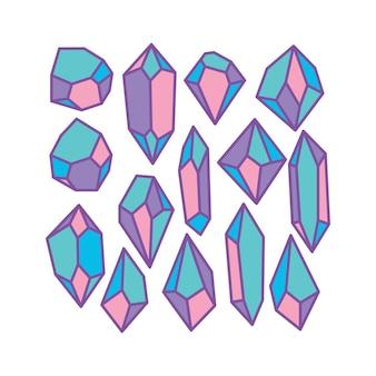 Kolorowa kolekcja pastelowych kryształowych kamieni szlachetnych z grubym fioletowym konturem w stylu diamentowym
