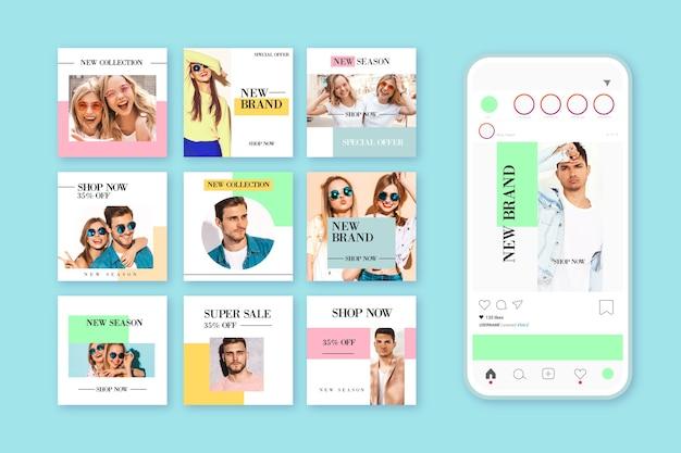 Kolorowa kolekcja post instagram sprzedaży