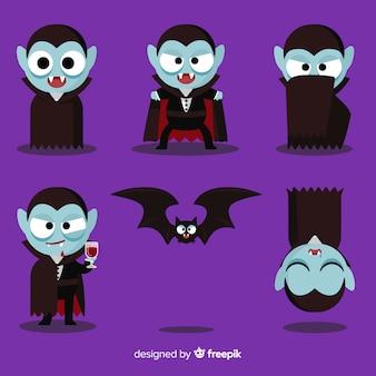 Kolorowa kolekcja postaci wampira z płaska konstrukcja