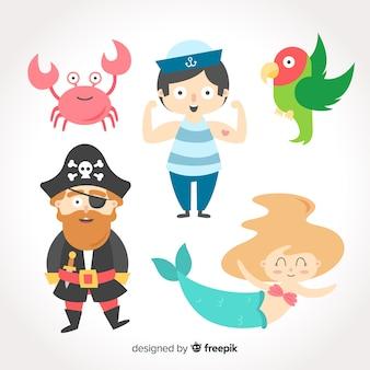 Kolorowa kolekcja postaci z życia morskiego