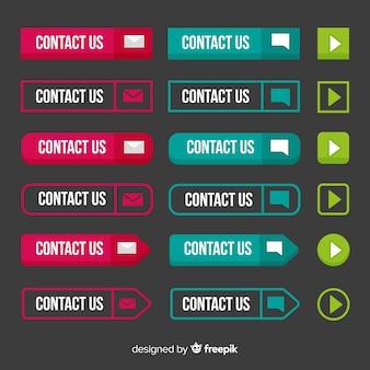 Kolorowa kolekcja przycisk web design z płaska konstrukcja