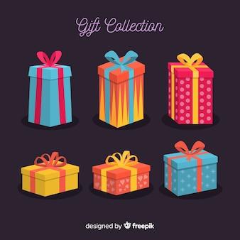 Kolorowa kolekcja pudełka prezent boże narodzenie w płaska konstrukcja