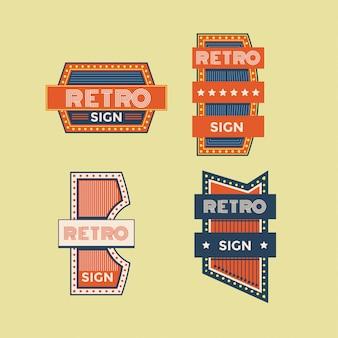 Kolorowa kolekcja retro znaki i vintage neony