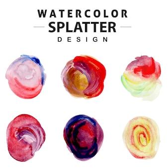 Kolorowa kolekcja splatter akwarela
