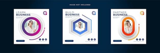 Kolorowa kolekcja szablonów postów agencji marketingu cyfrowego biznesu