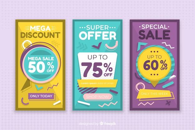 Kolorowa kolekcja transparent sprzedaż w stylu memphis
