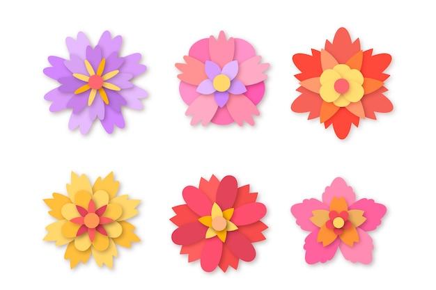 Kolorowa kolekcja wiosennych kwiatów w stylu papieru