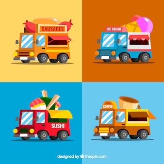 Kolorowa kolekcja zabawek ciężarówek żywności